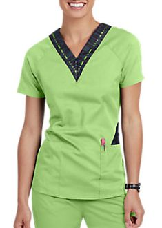 The Grey's Anatomy Spandex Stretch V-Neck Zip Contrast Scrubs Top is made with stretch fabric and roomy pockets. Restaurant Uniforms, Scrub Tops, Greys Anatomy, V Neck Tops, Stretch Fabric, Scrubs, Contrast, Polo Ralph Lauren, Rompers