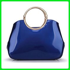 KDHJJOLY Practical fashion female artificial leather handbag women tote bags party luxury bag handbags candy color ladies hand bags Blue Chic - Totes (*Amazon Partner-Link)