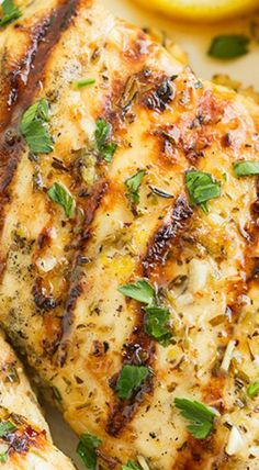 ~Grilled Greek Lemon Chicken ~ Perfectly tender chicken, a vibrant lemon flavor and perfect pairing of herb flavors to enhance the lemon from Cooking Classy Pasta Primavera, Grilling Recipes, Cooking Recipes, Healthy Recipes, Healthy Grilled Chicken Recipes, The Chew Recipes, Healthy Grilling, Greek Lemon Chicken, Grilled Chicken Recipes