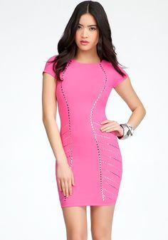 bebe | Short Sleeve Studded Dress - View All