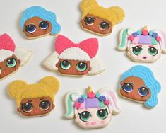 Today we are going to decorate with royal icing 4 cute LOL Surprise Doll Cookies : Unicorn, Diva and ultra rare Mermaid and Queen Bee. Royal Icing Cookies, Sugar Cookies Recipe, Cake Cookies, Baileys Ice Cream, Edible Luster Dust, Royal Icing Transfers, Petal Dust, Unicorn Doll, Royal Icing Decorations