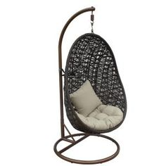 JLIP Brown Double Woven Rattan Hanging Patio Chair with Tan Cushions and Stand