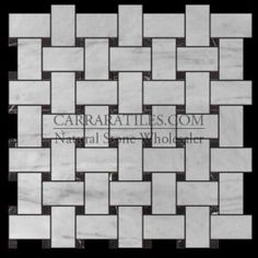 Carrara Marble Italian White Bianco Carrera Basketweave Mosaic Tile with Nero Marquina Black Dots Polished
