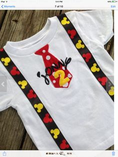 Mickey Mouse Birthday Shirt with Tie and Suspenders by Swiftimages