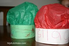 Chef hats (another version here: http://teaching2and3yearolds.blogspot.com/2011/08/chefs-hats-and-aprons.html)