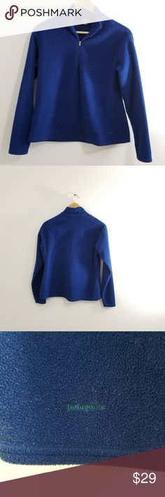 Patagonia 1/4 Zip Fleece Women's Medium Patagonia 1/4 Zip Fleece Women's Medium, seems to run small. Older style but sti l great just some typical fuzz on fleece, great as a base layer. Blue Patagonia Sweaters