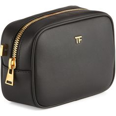 TOM FORD TF Leather Cosmetic Bag with Strap (€805) found on Polyvore featuring beauty products, beauty accessories, bags & cases, makeup purse, wash bag, cosmetic purse, travel bag and travel toiletry case