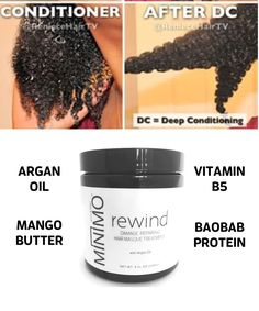 Argan Oil penetrates the hair shaft to help repair damaged hair while smoothing split ends. Oat Protein bind with Keratin in the Hair to strengthen each follicle.  DL-Panthenol B5 coats and smooths the hair to prevent damage until your next wash day.  Baobab Protein helps repair breakage. Natural Hair Curly Hair myminimo.com