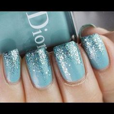 Dior blue sparkly ombre manicure!! Matches my dress and everything!!!!