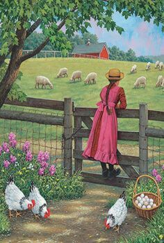 Wool Gathering By John Sloane Art And Illustration, Illustrations, Arte Country, Pictures To Paint, Art Pictures, Images D'art, Farm Paintings, Farm Art, Country Scenes