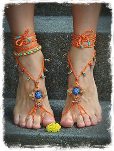 Shanti BAREFOOT SANDALS Burnt Orange Wedding beaded Crochet sandals Toe anklets foot jewelry Hippie Gypsy Foot Thong Bohemian shoes by GPyoga on Etsy https://www.etsy.com/listing/152844293/shanti-barefoot-sandals-burnt-orange
