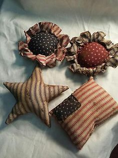 Primitive-Americana-Bowl-Fillers-Ornies-American-Flags-Stars-Flowers-Grunged
