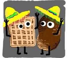 interference - Waffle and a potato partake in a Mexican wave