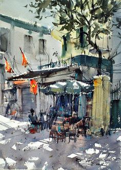 A little shop on street, Hanoi (watercolor, cm), Direk Kingnok Watercolor City, Watercolor Sketch, Watercolor Artists, Watercolor Landscape, Watercolour Painting, Painting & Drawing, Landscape Paintings, Watercolors, Fachada Colonial