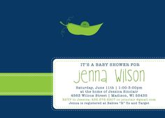 Pea in a Pod - Custom Baby Shower Invitation, boy, girl, neutral, twins. $15.00, via Etsy.
