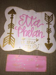 arrows // be brave little one // hospital door hanger for girls // fortheglorydesigns on etsy