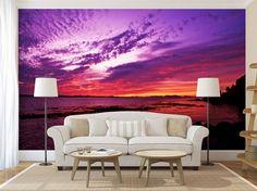 Purple Sunset WALL MURAL, self adhesive peel and stick mural, wallpaper, wall sticker Stick Photo, Custom Wall Murals, Purple Sunset, Peel And Stick Vinyl, 3d Wall, Ocean Waves, Wall Sticker, Adhesive, Photo Wall