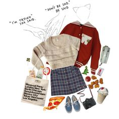 i had a dream i was wearing your letterman but i couldnt see your face?! by tokyo-mewmew on Polyvore featuring moda, Vans, American Apparel, Madewell, WALL and Bandai
