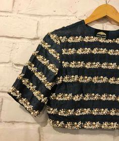 horizontal line work on blouse
