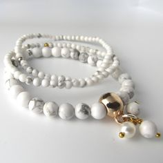 The Cece 3 Bracelet white howlite 5mm 3mm silver by FortyFourLang from the London Local team