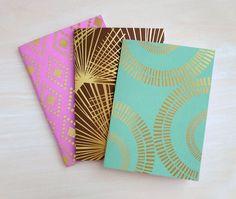 Foil Stamped Pocket Journal Notebook Set by finedaypress on Etsy
