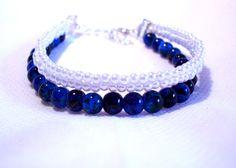 Bracelet bleu  blanc en  perles 3 rangs