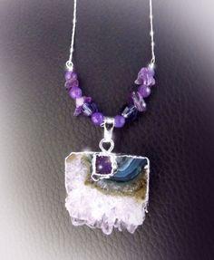 Amethyst druzy crystal silver boho by CindersJewelryDesign on Etsy
