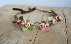 Rose flower crown Wedding flower crown by JewelryByCompliment Rose Crown, Flower Crown, Bridal Flowers, Pink Flowers, Baby Birthday Dress, Floral Crown Wedding, Hair Wreaths, Wedding Hair Pieces, Tiaras And Crowns