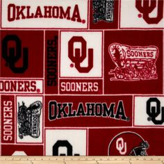 Collegiate Fleece University of Oklahoma Collage from @fabricdotcom  Cheer on the Sooners, your favorite college team with this collegiate fleece! With an anti-pill face this soft, warm and cozy fleece is perfect for throws, stadium blankets, seat cushions, hats, scarves, pillows, vests, pullovers and much more! This is a licensed product and not intended for commercial use.