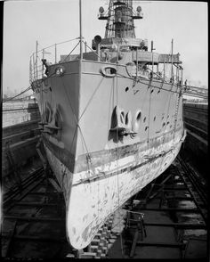 US Navy ship coming into dry dock at Navy Yard; Boston Public Library  - Original (1202 x 1500) -