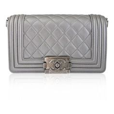 Pre-Owned Chanel Silver Boy Bag Quilted Leather Stingray Strap Shw... ($3,606) ❤ liked on Polyvore featuring bags, handbags, multi, hand bags, crossbody handbag, silver evening handbag, man shoulder bag and shoulder handbags