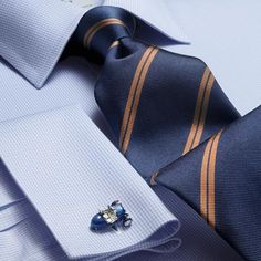 Classic navy and brown double stripe tie