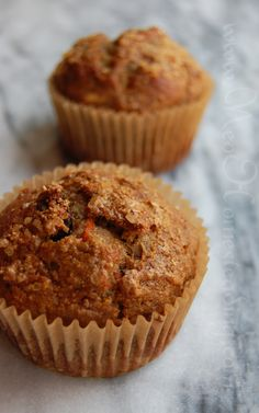 Carrot Lactation Muffins. I omitted the almonds and added chia seeds. Instead of the flours, I ground up oats in the food processor. 2p+ each
