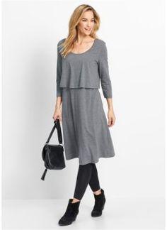 Трикотажное платье из нескольких слоев, bpc bonprix collection, серый меланж