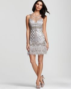 Beaded Boatneck Dress with Feather Trim - Lyst