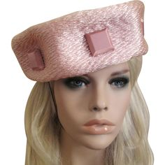 Pink Pillox Hat Vintage 1950s Shimmery Woven Straw Square Buttons Stephen Anne  Was $26 -  Offers accepted, mail to: vanityflairvintage@gmail.com                 http://www.rubylane.com/item/676693-ACC57/Pink-Pillox78-Hat-Vintage-1950s-Shimmery