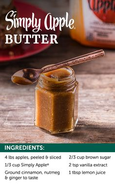 Add a hint of pure-pressed Simply Apple® to your homemade apple butter and turn toast into anything but typical. With a hint of cinnamon, nutmeg and ginger, this flavorful apple butter is sure to turn breakfast up a notch. Refrigerate in a sealed jar and Apple Recipes, Fall Recipes, Holiday Recipes, Great Recipes, Favorite Recipes, Apple Desserts, Dips, Homemade Apple Butter, Canning Recipes