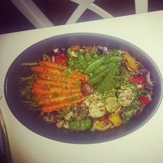 Roasted vegitables with fresh herbs and glaced honey carrots #superhealthy