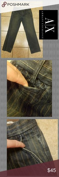 🕴ARMANI EXCHANGE JEANS SZ 30🕴 Gently preloved men's ARMANI EXCHANGE jeans, size 30. These high class, pinstriped jeans are a real bargain! Features 2 front pockets, as well as a pocket watch pocket. ;) 2 back pockets have button closures. Zip fly with  slide hook & button. Thanks so much for looking. Be sure to check out my closet for other great deals on name brands and bundle to save even more. God bless!! Armani Exchange Jeans