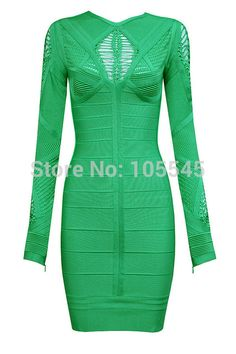 2015 New hot Fahion sexy Women gray blue green Classic cutout long sleeve special formal evening party Bandage Dress gown