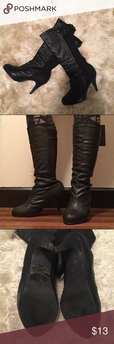 "//These Boots Were Made For Walkin'\ Size 6. True to size. Can fit wide calf!  The back/calf area is a stretchable material   Approx 3"" heel  There is some wear to the heel area and a couple small scuffs on the toes. Overall great condition with a lot of life left!   No trades/holds Shoes Heeled Boots"