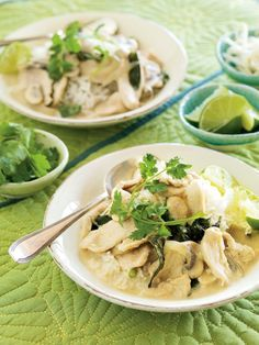 Chicken-Coconut Curry - Both kids and adults will love the limey-coconut flavor in this dish, which falls somewhere between tangy and sweet. If your family like spicy curry, add thinly sliced serrano chiles. Serve the curry over rice with bowls of lime wedges, bean sprouts and sprigs of fresh cilantro.