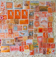 Orange you glad! This lot contains an intriguing mix of vintage US and international stamps from the early 1900s through the 20th century (although mostly pre-80s) with an assortment of themes all in various shades of orange. Some are off paper. Many are in mint, brand new, unused condition. Overall, they are all in wonderful condition even though a few may be torn or worn. There may be some minor imperfections but they only add authentic antique character! Most of the stamps are cancelled…