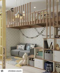 {Inspiração} linda de quarto com mezanino!  Adoramos a escada com nichos que serve de estante  Imagem via @children.room ** projeto não…