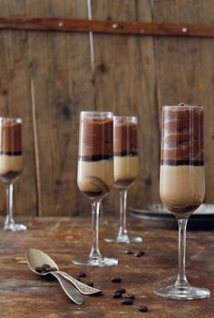 coffee panna cotta with choclate mousse