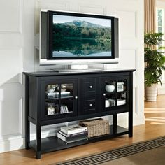 @Overstock - This stylish and contemporary wooden console table accommodates most flat-screened TVs up to 55 inches and is great for entertaining. Its black finish, decorative designs and multi-functional storage make it a perfect fit in any room in the house.http://www.overstock.com/Home-Garden/Black-52-inch-Wood-Console-Table-TV-Stand/6787461/product.html?CID=214117 CAD              526.64