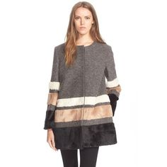 Helene BermanPlush Stripe Coat (13,030 PHP) ❤ liked on Polyvore featuring outerwear, coats, multi, helene berman coat, collarless coat, helene berman and striped coat