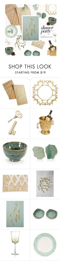 """Green and Gold: Dinner Party"" by magdafunk ❤ liked on Polyvore featuring interior, interiors, interior design, home, home decor, interior decorating, Pier 1 Imports, ANNA by RabLabs, Juliska and Anthropologie"