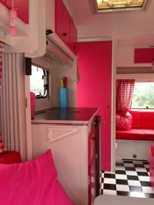 Sweet caravan in pink and red with dots