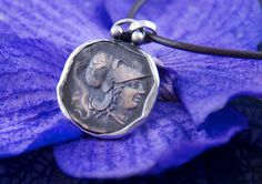 "Ancient Coin Pendant - Athena - Large 1"" coin - Sterling Silver Frame"